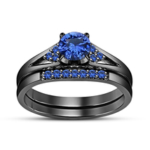 Black Gold Over Pure 925 Sterling Silver Blue Sapphire Bridal Wedding Ring Set - $94.88