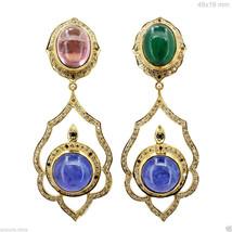 Solid 18k Yellow Gold Studded Diamond Gemstone Emerald Tanzanite Dangle ... - $2,413.13