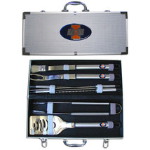 illinois fighting illini 8 pc tailgater stainless steel bbq set with met... - $126.34