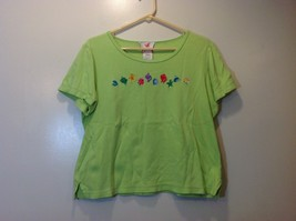 Quacker Factory Chartreuse Short Sleeve Embroidered/Beaded Graphic Shirt Sz M