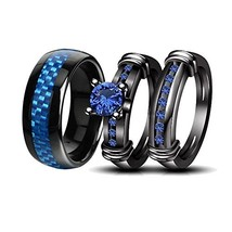 LOVERSRING Couple Rings Black Men?¡¥s Stainless Steel Matching Band Wo... - $22.31