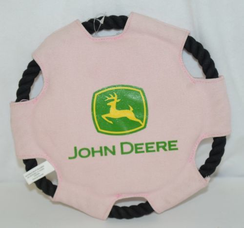 John Deere LP49601 Pink Black Dog Toy Polyester 9 Inches