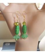 green flower drop earrings green earrings bead drop earrings long dangle... - $3.99
