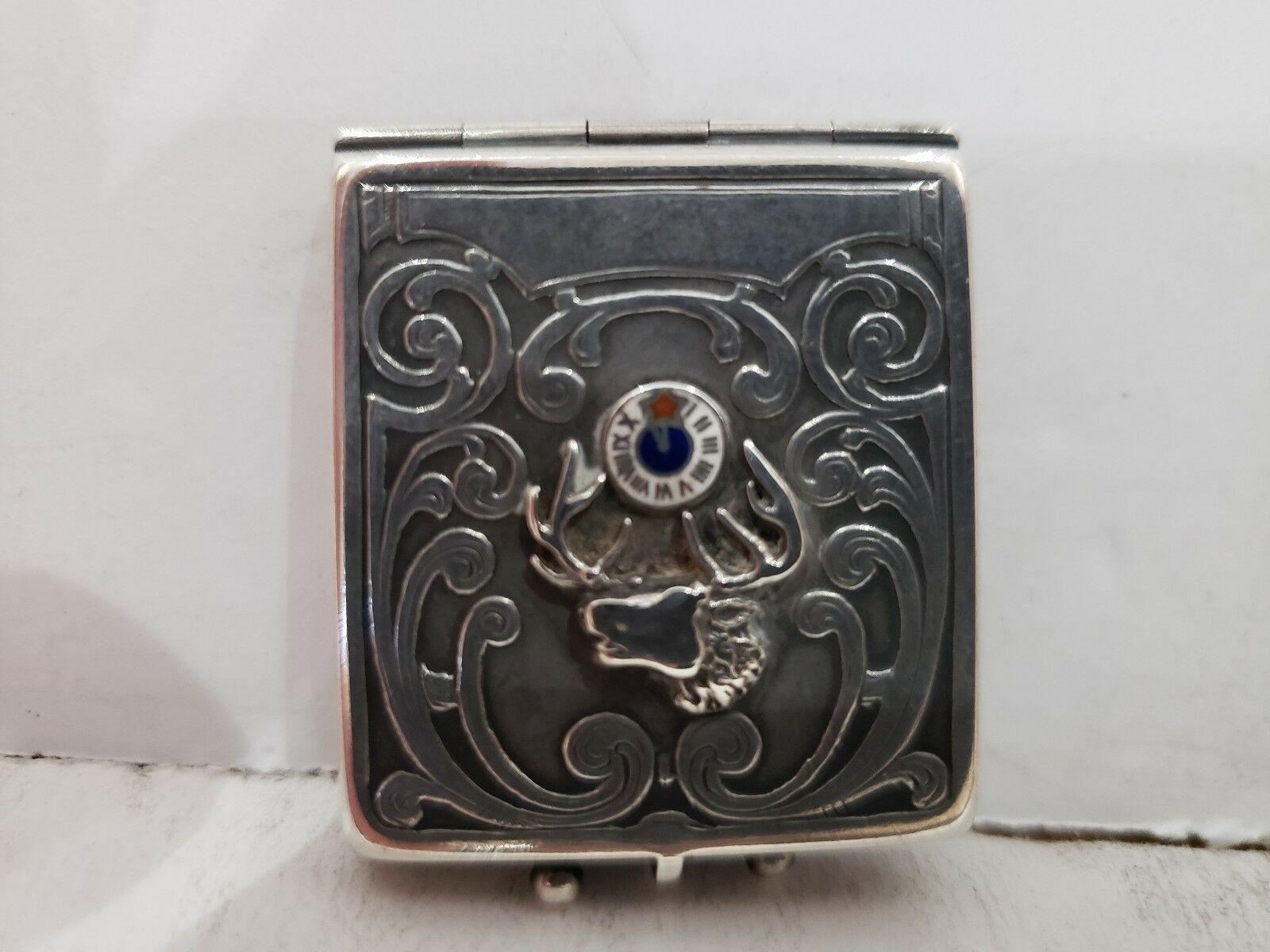 Antique Fraternal Elks BPOE Sterling Silver Card Case / Enameled Plague -1900's image 2