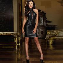 Sexy Sleeveless Backless Cross Bandage Bodycon Leather Mini Dress
