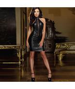 Sexy Sleeveless Backless Cross Bandage Bodycon Leather Mini Dress - $54.99