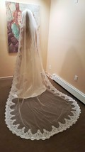 Elegant Royal Cathedral  Bridal White Veil with Metal Comb V-225 - $139.50