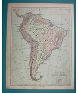 1875 MAP COLOR - SOUTH AMERICA Physical + Volcanos - $6.71