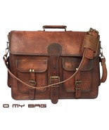 New handmade brown leather vintage retro men's laptop computer messenger... - $64.79+