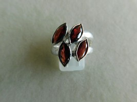 925 STERLING SILVER HAND MADE GARNET FACETED RING OF WT.-6.2 GMS. - $32.63