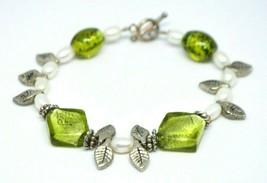 Green Art Glass Pearl Leaf Bead Beaded Bracelet Sterling Clasp - $19.79