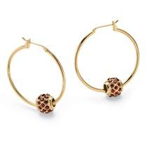 Birthstone Gold Tone Bead Hoop Earrings - $18.82