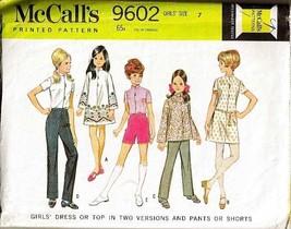 Vintage 1968 McCall's #9602 Girl's Dress Top & Pants, Sz 7 - $9.99
