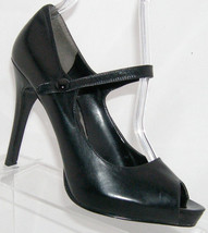 Nine West 'Luminous' black leather mary jane button platform heel 6.5M - $23.80