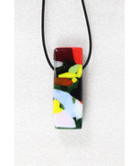 Elegant Handmade Casual Coloured Fused Glass Pendant+ Cord & Extension #... - $3.95