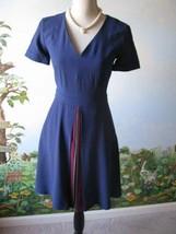 Reiss Elva Multi Colored Pleat Short Sleeve V-neck Blue Dress Size 2 New  - $137.61