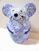 REUI SIGNED BLUE WHITE SPECKLED MOUSE GRATED CHEESE SHAKER VINTAGE - $30.00