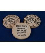 Vintage Lote de 3 Madera Níquel Miller's Buffalo Ranch Publicidad - $26.99