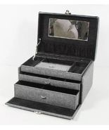 Gray Felt Jewelry Case Trinket Box Travel Storage Organizer W/ Mirror & Key - $55.44