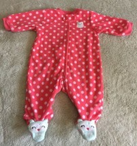 Carters Girls Pink Polka Dots Teal Owls Fleece Long Sleeve Pajamas 3 Months - $5.00