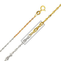 14k Tri-Tone Gold 1.2-mm Thin and Dainty Singapore Chain Necklace - $63.90+