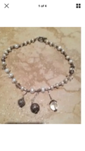 beaded necklace with 3 pendants - $24.99