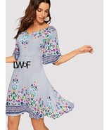 Kimono Sleeve Floral & Striped Dress - $58.99+