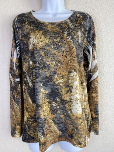 Primary image for Reba Womens Size M Abstract Pattern Blouse Long Sleeve Rhinestone Embellished