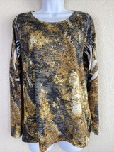 Reba Womens Size M Abstract Pattern Blouse Long Sleeve Rhinestone Embell... - $14.85