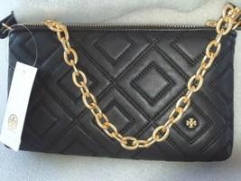 Tory Burch Fleming Chain Leather Cross-Body Handbag Black - $328.00