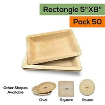 Dtocs Palm Leaf Plates 5x8 Inch Rectangle Bamboo Style 50 image 1