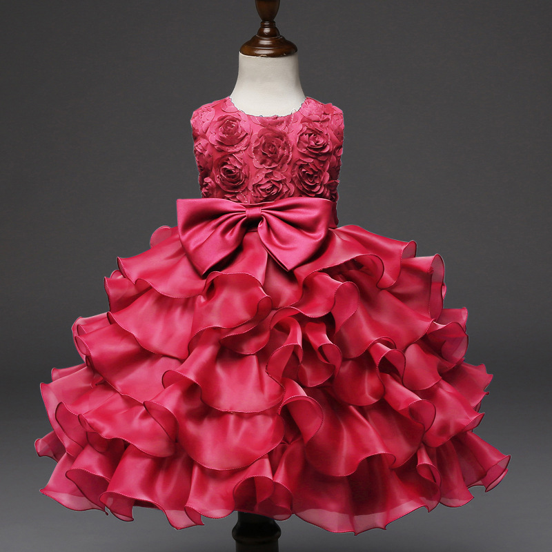 Primary image for Toddler Infant Party Ball Gown Dress Hot Pink dress for Baby Girl Birthday Dress