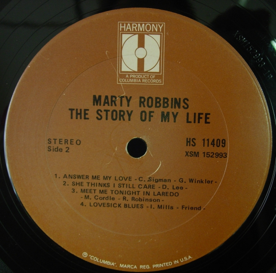 Marty Robbins - The Story of My Life - Harmony Records HS 11409