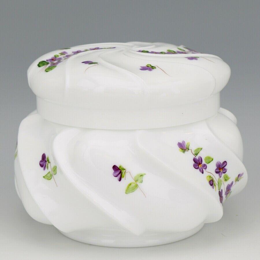 Vinatge Fenton Art Glass Violets in the Snow Large Wave Crest Box - Pre Logo