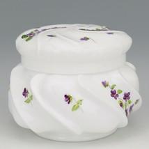 Vinatge Fenton Art Glass Violets in the Snow Large Wave Crest Box - Pre Logo image 1