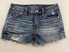 American Eagle Womens Jean Shorts Sz 00 Light Wash Distressed Destroyed ... - $24.13