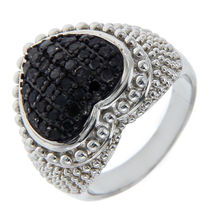 Solid Sterling Silver Black Diamond HEART Ring»R215 - £53.32 GBP