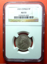 NGC AU 55  CYPRUS 1921 9 PIASTRES SILVER COIN,KM#13 - $550.00