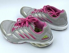 Adidas Women Sneakers Silver Pink Gray Sport Walk Run Athletic Shoes 6.5 - $19.31