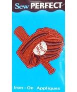 Sew Perfect Baseball, Bat & Glove/Mitt Iron-On Applique Patch Brown - £0.93 GBP
