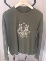 Pre-owned Calvin Klein J EAN S Army Green Long Sleeve T-shirt Eagle Applique Sz Xl - $24.75