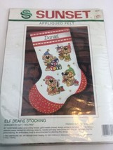"Vintage Sunset FELT JEWELED EMBROIDERY STOCKING KIT ELF BEARS 15""  - $17.52"