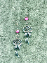 Large Rose Pink Bead Romantic New Earrings, Handmade - $11.99