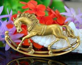Vintage Rocking Horse Gold Tone Brooch Pin Designer Signed Figural - $28.95