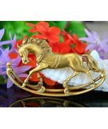 Vintage rocking horse gold tone brooch pin designer signed figural thumbtall