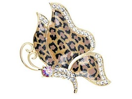 Alilang Golden Tone Butterfly Insect with Enamel Wild 80s Cheetah Cat Pa... - $25.41