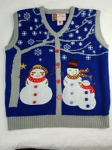 Vintage Womens Large Acrylic Knit CHRISTMAS Snowman Family Sweater Vest  - $16.49