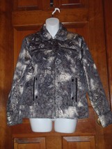 Chicos Metallic Pewter Zip Up Cotton Blend Jacket Size 1  8-10 - $27.76