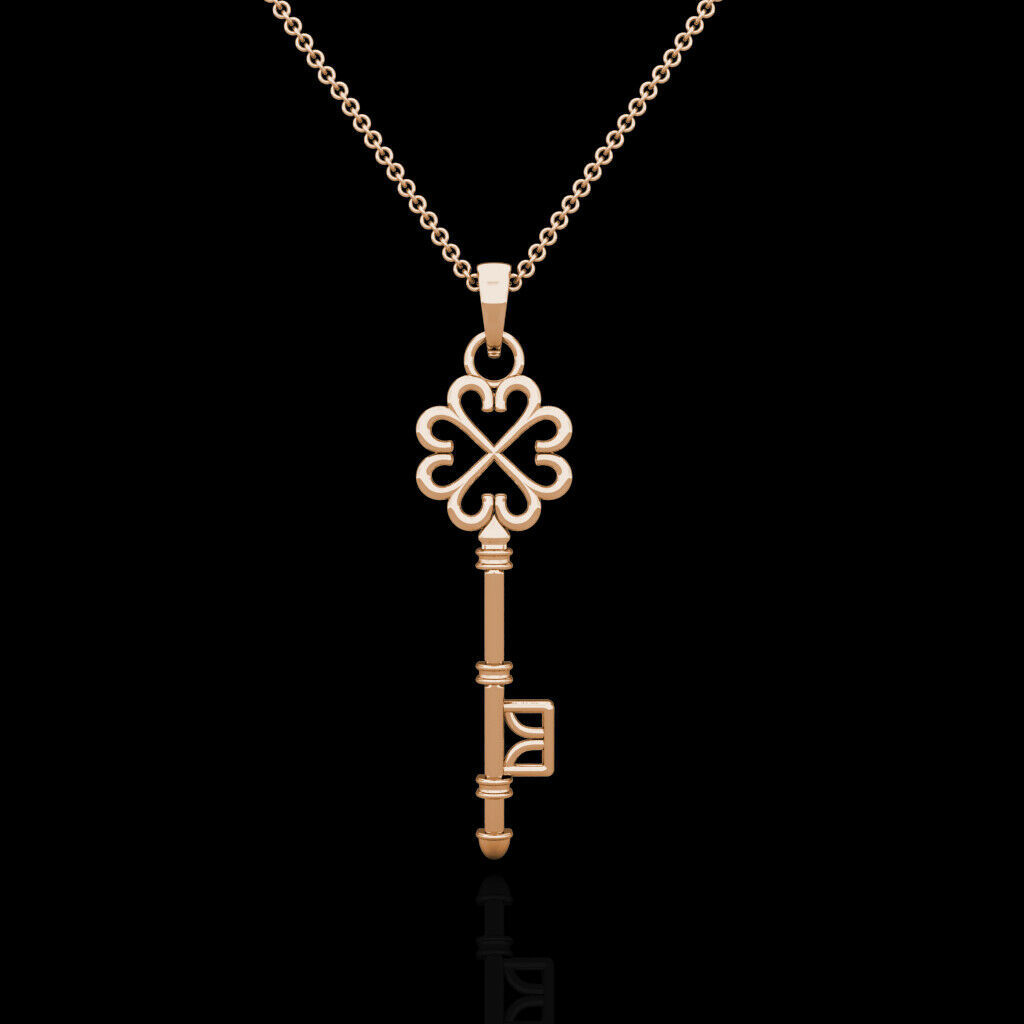 """Key Pendant Solid 14K Rose Gold Charm 18"""" Cable Chain Necklace Skeleton Design"""