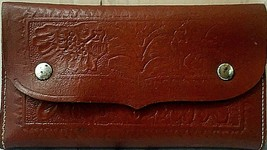 Vintage Fly Wallet Oregon Saddlemakers Tooled Leather circa 1960s USA ma... - $72.43